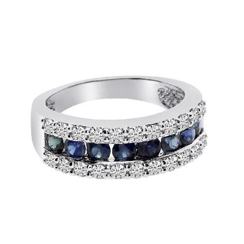14k White Gold Diamond and Sapphire Channel Band