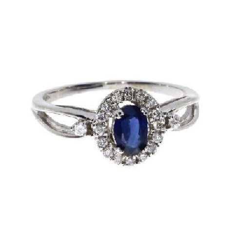 14k White Gold Diamond and Oval Sapphire Halo Ring
