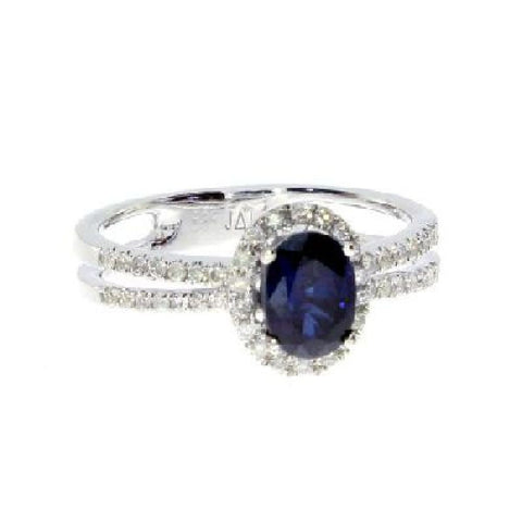 14k White Gold Diamond and Oval Sapphire Ring 1.18ct TW*