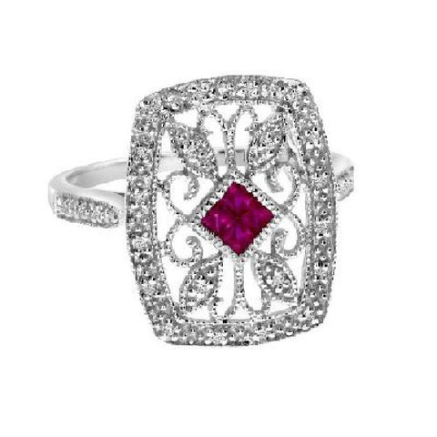 14k White Gold Diamond and Ruby Filigree Ring