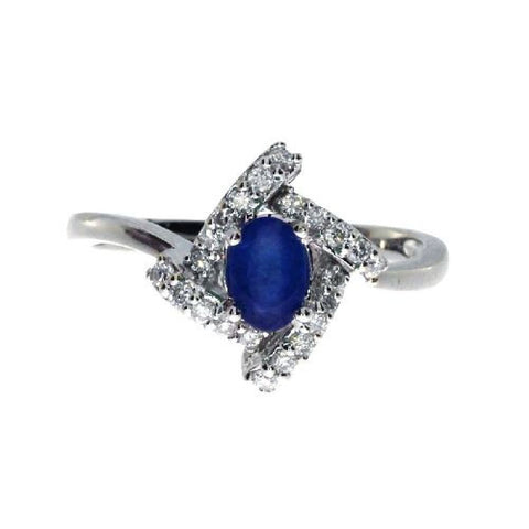 14k White Gold Diamond and Oval Sapphire Fashion Ring 0.59ct*