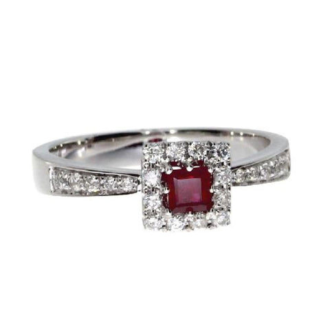14k White Gold Diamonds 0.26ct and Square Ruby Ring