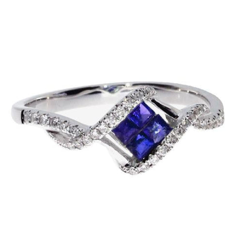 14k White Gold Diamonds and Square Sapphires Fashion Ring