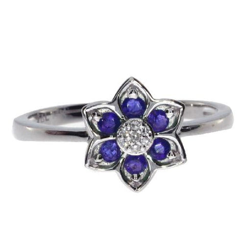 14k White Gold Diamonds and Sapphires Star Ring