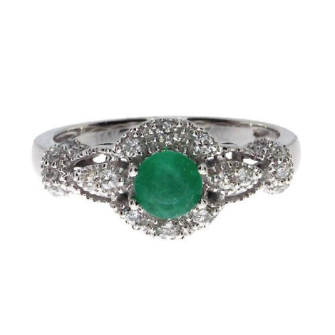 14k White Gold Diamond 0.32ct and Round Emerald Fashion Ring