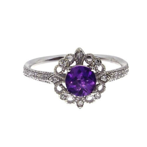 14k White Gold Diamond and Round Amethyst Fashion Ring
