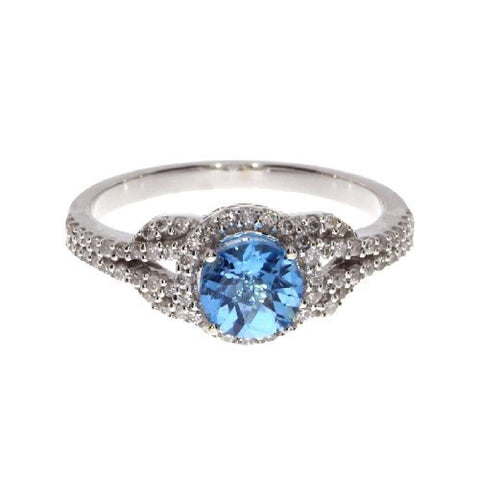 14k White Gold Diamond and Round Blue Topaz Fashion Ring