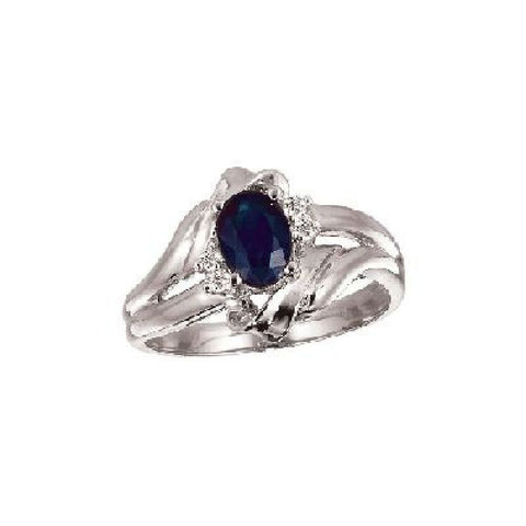 14k White Gold Diamond and Oval Sapphire Ring 0.75ct TW