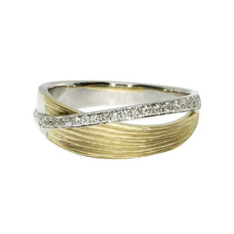 14kt Two Tone Gold Fashion Diamond Ring 0.18ct