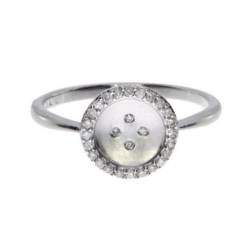 14kt White Gold Satin Button Diamond Ring 0.14ct