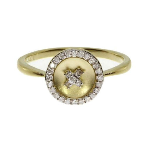 "14kt Yellow Gold ""X"" Satin Diamond Ring 0.14ct"