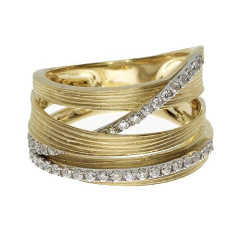 14kt Yellow Gold Brushed Wide Diamond Ring 0.43ct