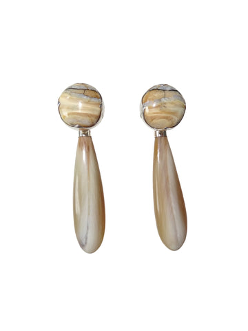 KVK Jewelry - Beige Fossilized Woolly Mammoth & Black Diamond Horn Earrings