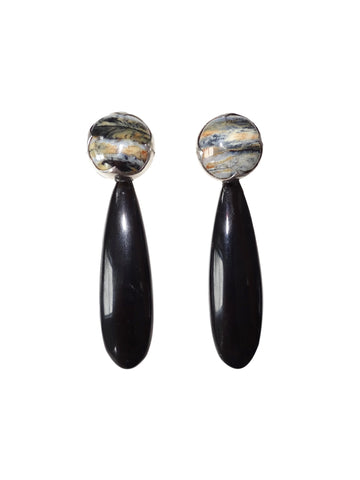 KVK Jewelry - Blue Woolly Mammoth Ivory & Black Horn Earrings