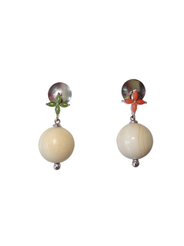 KVK Jewelry - Coral, Jade & Woolly Mammoth Ivory Earrings