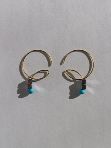 Melissa McArthur - Hematite & Turquoise Loop Earrings