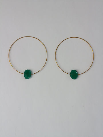 Melissa McArthur - Green Onyx Hoop Earrings