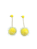 Dady Bones - Yellow Puff Ball Earrings