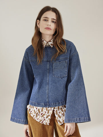 Nanushka - Bell Sleeve Denim Top