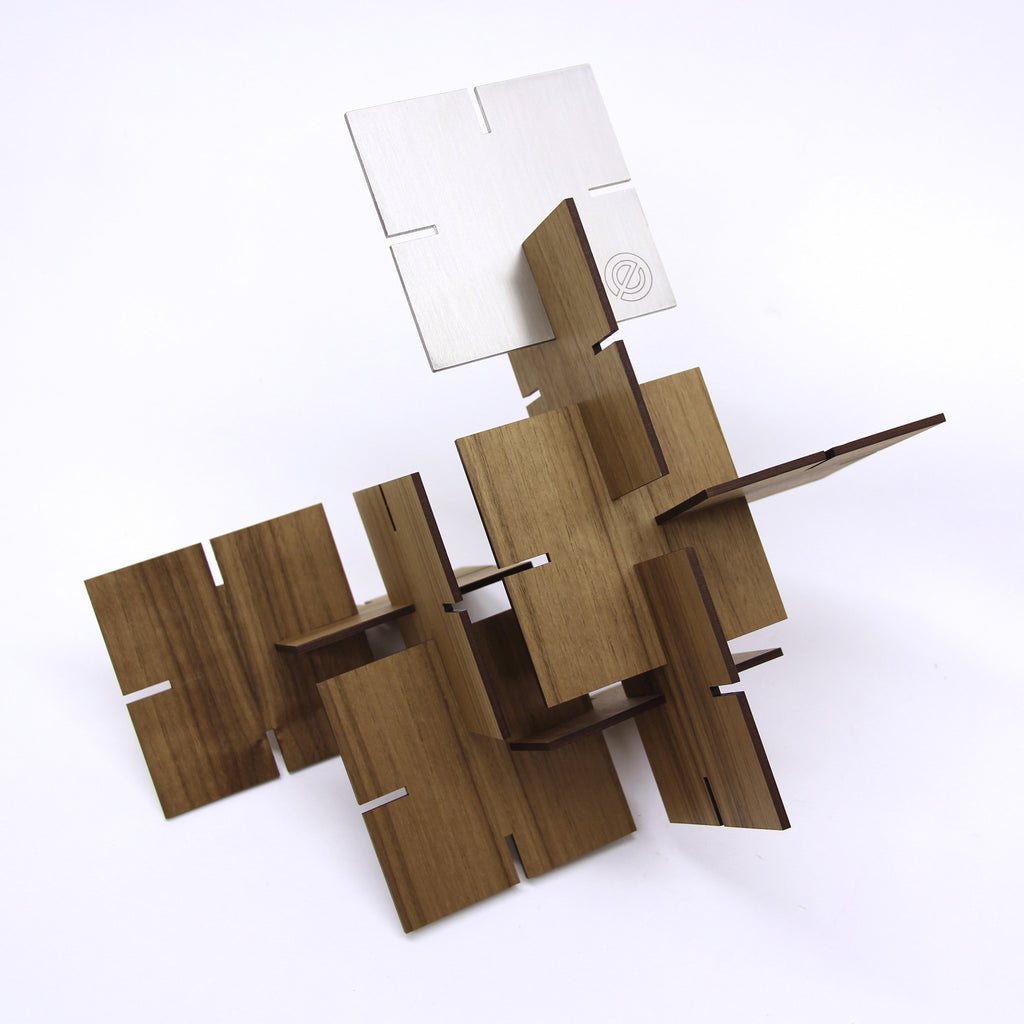 Sculpture Squared, Walnut and Stainless Steel