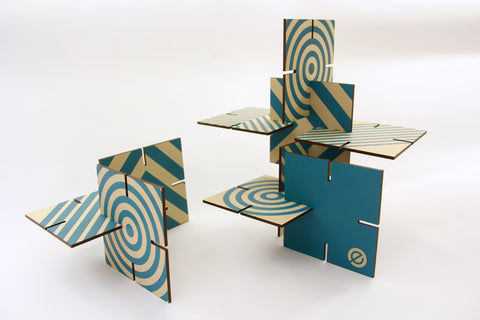 Patterned Sculpture Squared, Turquoise