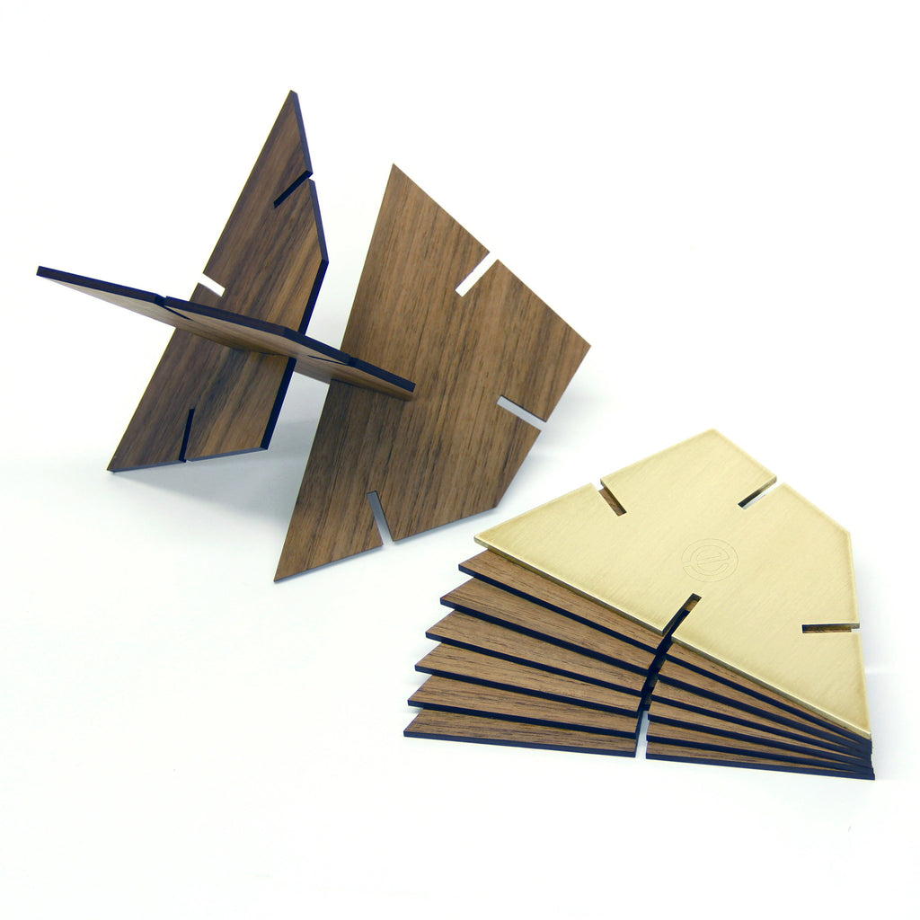 Sculpture Squared Trapezoid, Walnut and Brass