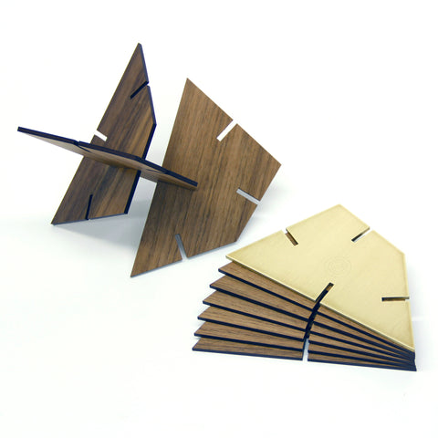 Sculpture Squared Trapezoid, Walnut and Stainless Steel