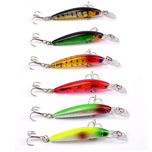 6pcs/Set Reflective Fishing Lures With Rattle Sound