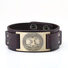 Load image into Gallery viewer, Skyrim Viking Tree of Life Vintage Wrap Wicca Metal Leather Bracelet Amulet Adjustable Cuff Bracelet Vintage Jewelry Men