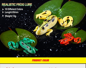 3pcs Frog Fishing Lures 85mm/13g Soft Artificial Rubber Frog Baits