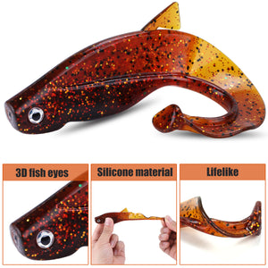 6Pc Set Big Soft Fishy Worm Lures 8cm 12g