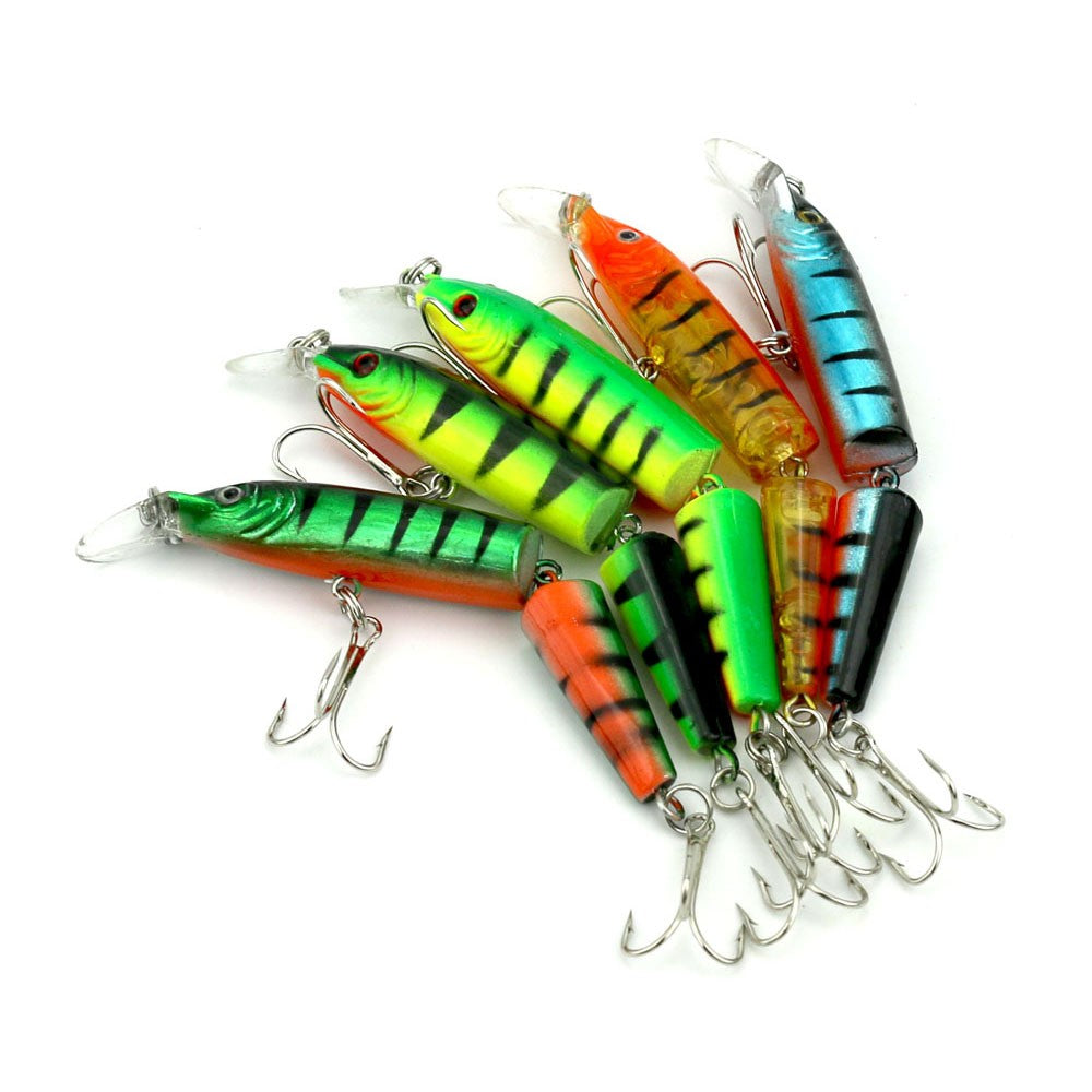 5PCS 10.5cm/9.6g Bisection Plastic Jointed Fishing Lure