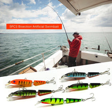 Load image into Gallery viewer, 5PCS 10.5cm/9.6g Bisection Plastic Jointed Fishing Lure