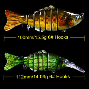6pcs/lot Multi Jointed Lifelike Mixed Set Bass Lures