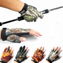 Load image into Gallery viewer, Camouflage Fishing Gloves Half-Finger With Anti-skidding For A Firm Grip.