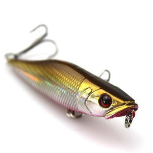 7cm 7.2g Popper Fishing Lures 3D Eyes
