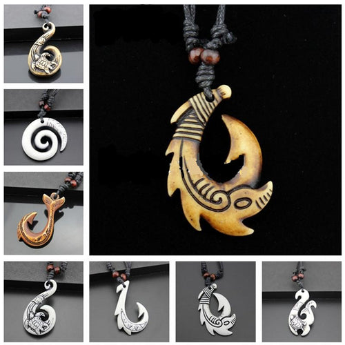 Exotic Hawaiian Style Carved Fish Hook Necklace