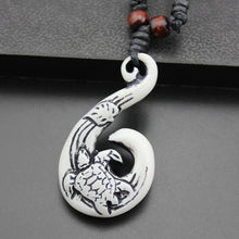 Load image into Gallery viewer, Exotic Hawaiian Style Carved Fish Hook Necklace