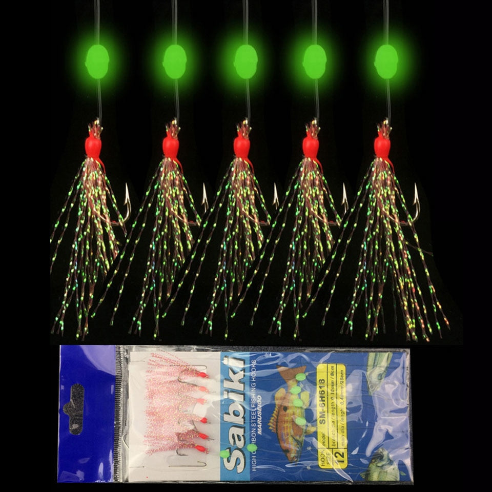 6PCS/Set Long Wire Sea luminous Fishing Hooks