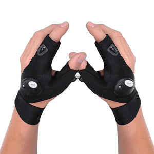 Flashlight Gloves. Left/ Right With Half Fingers. Perfect For Handling Fish At night.