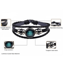 Load image into Gallery viewer, Zodiac Constellations Luminous Leather, Steel and Crystal Bracelet