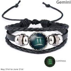 Zodiac Constellations Luminous Leather, Steel and Crystal Bracelet
