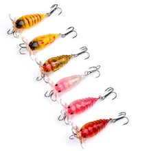 Load image into Gallery viewer, 6 pc Set Bass Baits Top Water Cicada Lure