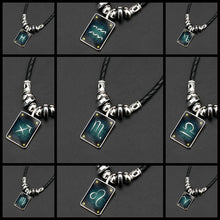 Load image into Gallery viewer, Zodiac Constellations Luminous Leather, Steel and Crystal Necklace