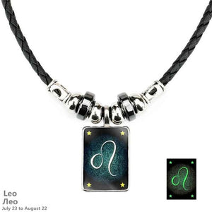 Zodiac Constellations Luminous Leather, Steel and Crystal Necklace