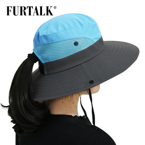 Safari Sun Hats for Women With Wide Brim UV UPF  And Ponytail Opening.