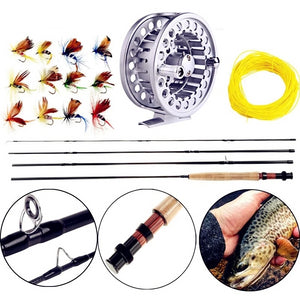 All In One Fly Rod and Fly Reel Combo with Fishing Line and Flies Gift Set