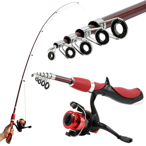 1.4m 3BB Carbon Fiber Superhard Fishing Rod With Reel Combo Spinning Tackle Set
