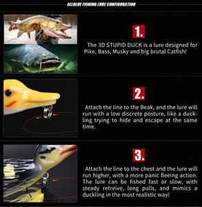3D Duckling Topwater Fishing Lure. Floating, Plopping And Splashing,