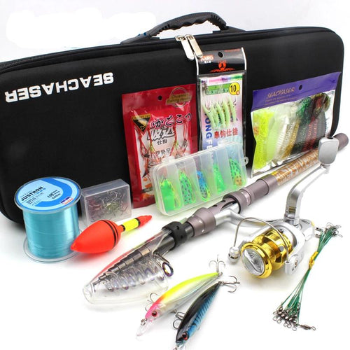 Complete  1.8M -3.0M Telescopic Fishing Rod Full Kit Spinning Reel Set